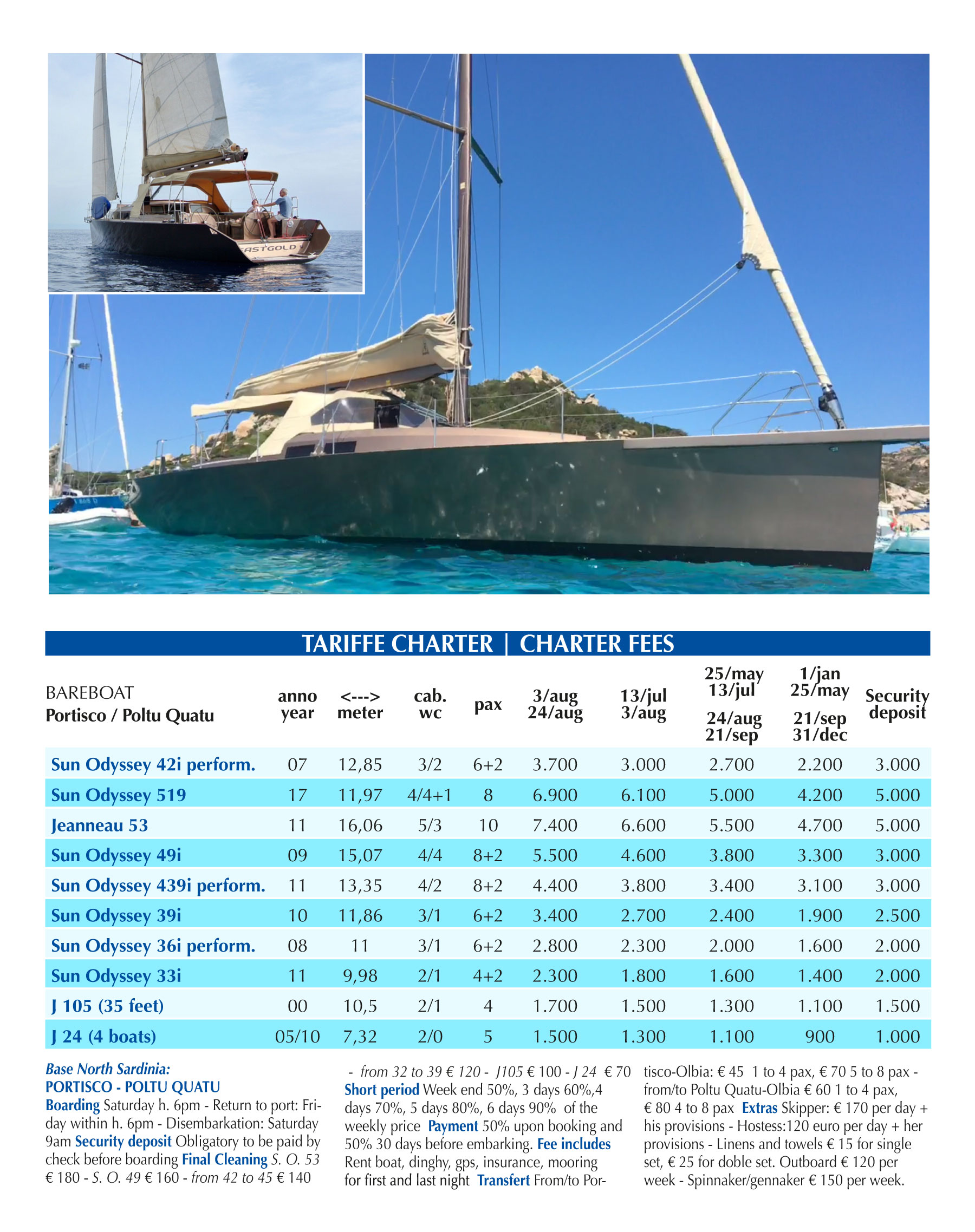 Charter Price List 2019 - Download PDF
